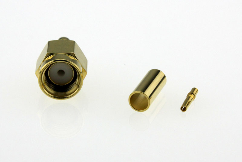 Coaxial-Connectors-Reverse-Pin-SMA-Straight-Crimp-Plug-50ohms-RSMA1121A6-GTG-316U-50-Above