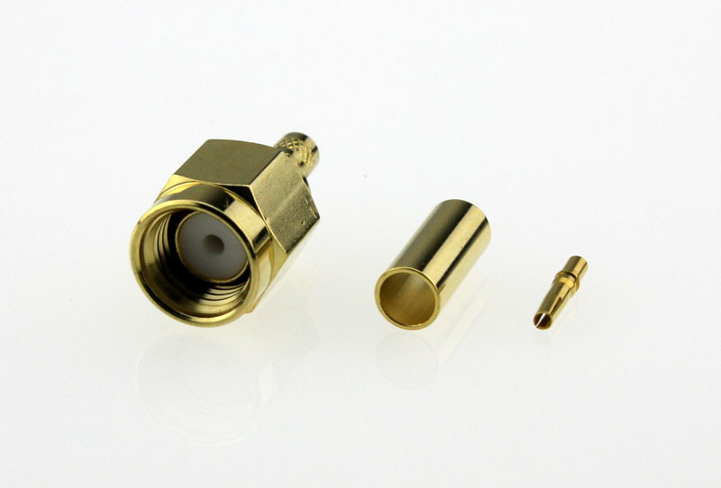 Coaxial-Connectors-Reverse-Pin-SMA-Straight-Crimp-Plug-50ohms-RSMA1121A6-GTG-316U-50-Front