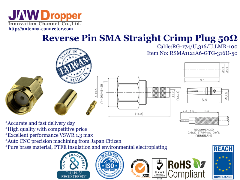 Reverse Pin SMA Straight Crimp Plug 50 Ω Coaxial Connectors