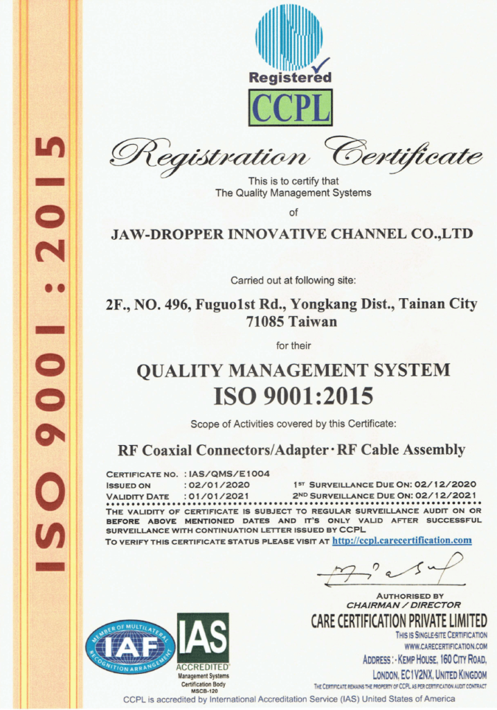 JAW-DROPPER INNOVATIVE CHANNEL CO., LTD. ISO9001