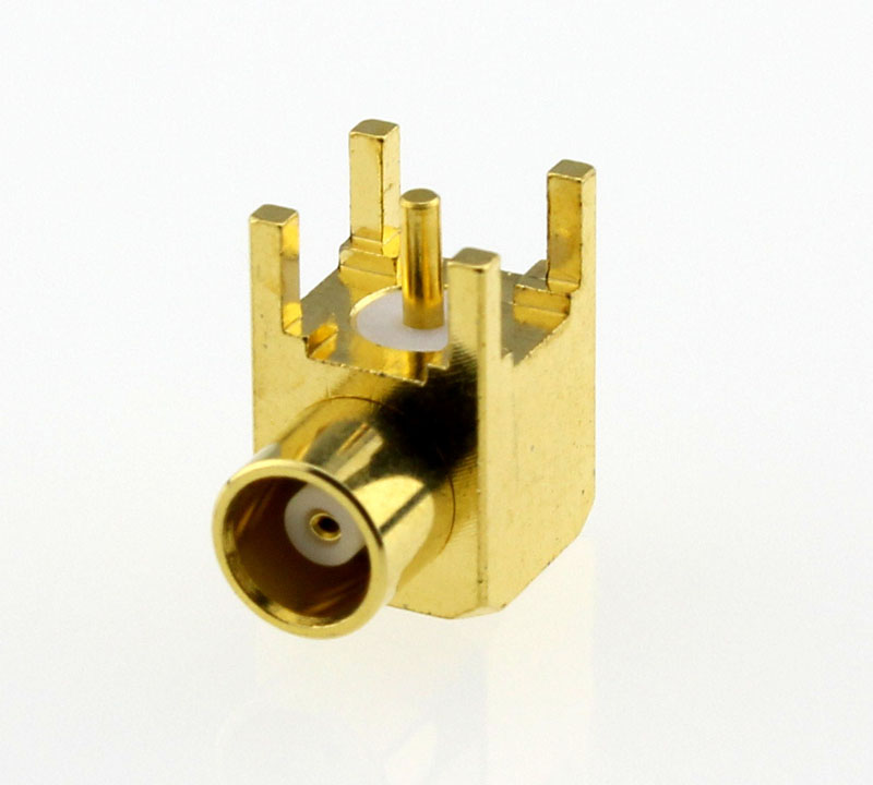 MCX Jack Female Right Angle PCB Coaxial Connector 50 ohms Below