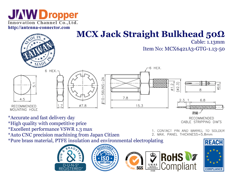 MCX Jack Female Straight Bulkhead Coaxial Connector 50 ohms for 1.13mm Cable