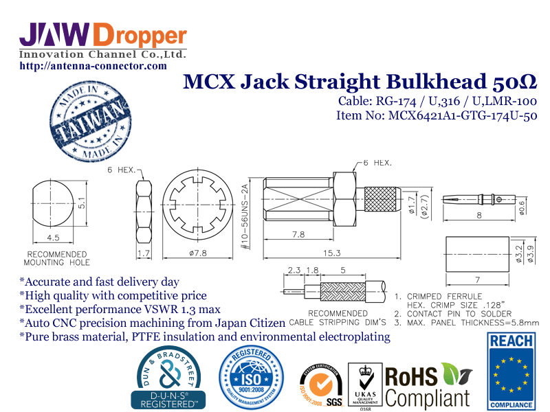 MCX Jack Female Straight Bulkhead Coaxial Connector 50 ohms for RG-174 / U,316 / U,LMR-100 Cable