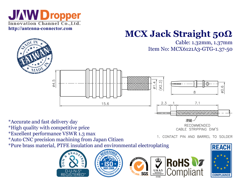 MCX Jack Female Straight Coaxial Connector 50 ohms for 1.32mm 1.37mm Cable