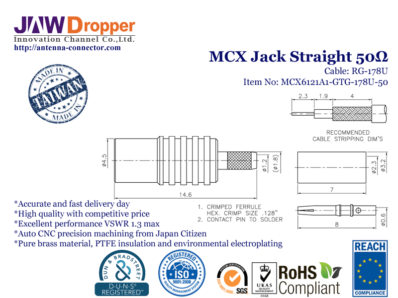 MCX Jack Female Straight Coaxial Connector 50 ohms for RG-178U Cable