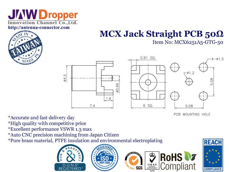 MCX Jack Female Straight PCB Coaxial Connector 50 ohms