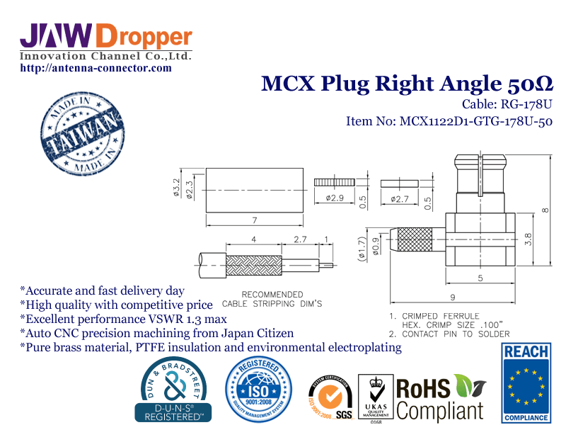 MCX Plug Male Right Angle Coaxial Connector 50 ohms for RG-178U Cable