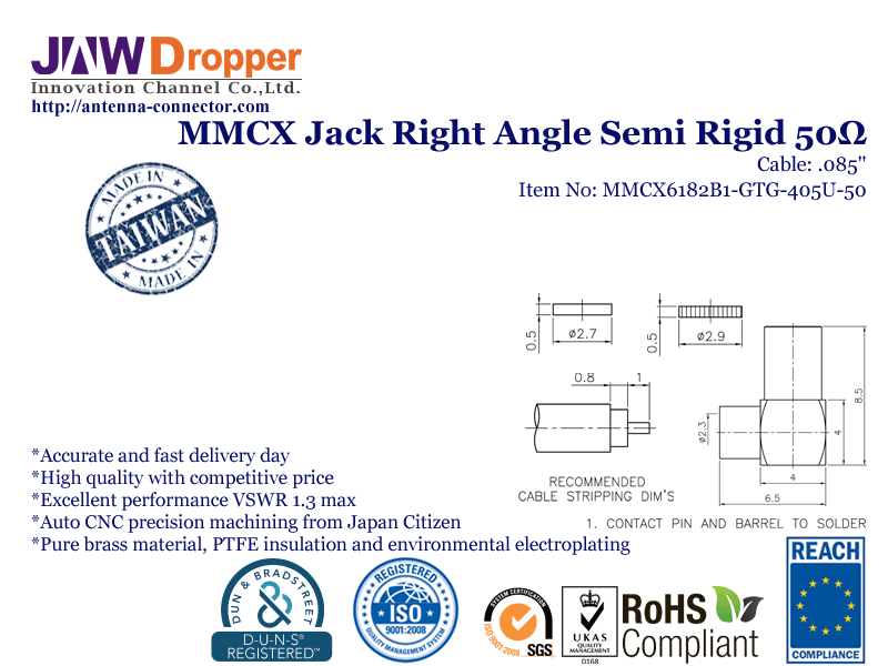 "MMCX Jack Female Right Angle Semi Rigid Coaxial Connector 50 ohms for .085"" Cable"