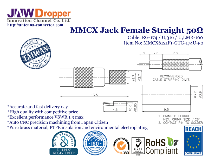 MMCX Jack Female Straight Coaxial Connector 50 ohms for RG174 U316 LMR100 Cable