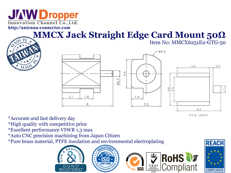 MMCX Jack Female Straight Edge Card Mount Coaxial Connector 50 ohms