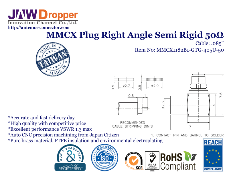 "MMCX Plug Male Right Angle Semi Rigid Coaxial Connector 50 ohms for .085"" Cable"