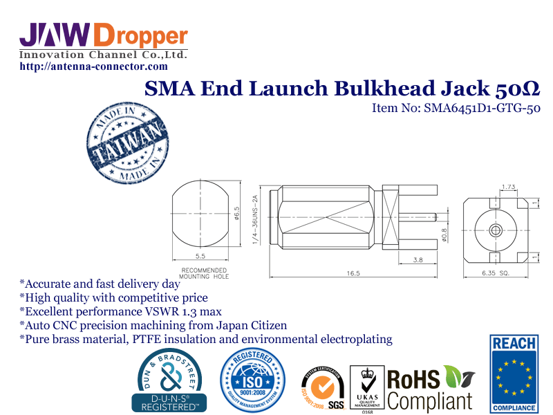 SMA Jack Female End Launch Bulkhead Coaxial Connector 50 ohms SMA6451D1 GTG 50