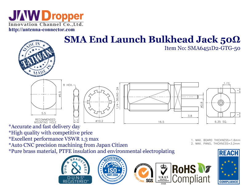 SMA Jack Female End Launch Bulkhead Coaxial Connector 50 ohms SMA6451D2 GTG 50