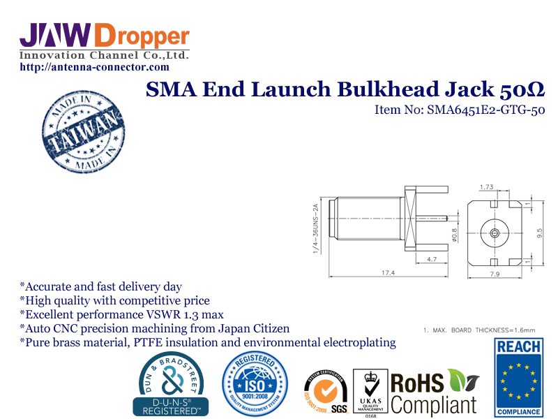 SMA Jack Female PCB End Launch Bulkhead Coaxial Connector 50 ohms