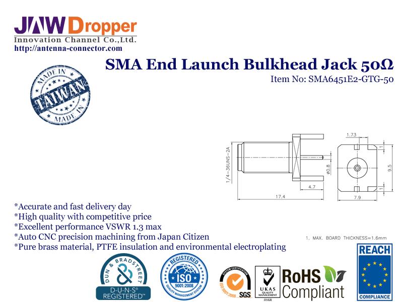 SMA Jack Female End Launch Bulkhead Coaxial Connector 50 ohms SMA6451E2 GTG 50