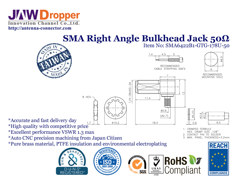 SMA Jack Female Right Angle Bulkhead Coaxial Connector 50 ohms SMA6422B1 GTG 178U 50
