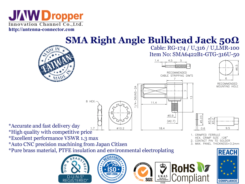 SMA Jack Female Right Angle Bulkhead Coaxial Connector 50 ohms for RG-174 / U,316 / U,LMR-100 Cable