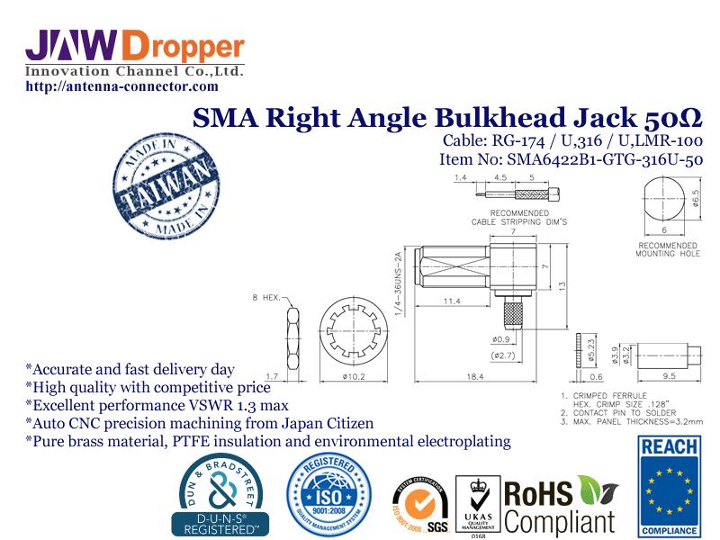 SMA Jack Female Right Angle Bulkhead Coaxial Connector 50 ohms SMA6422B1 GTG 316U 50
