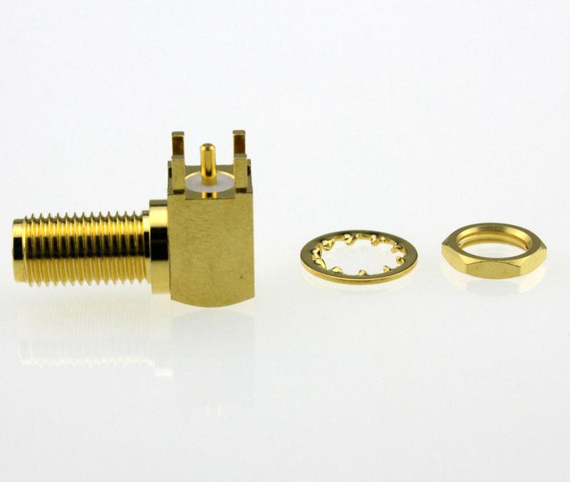 SMA Jack Female Right Angle Bulkhead PCB Coaxial Connector 50 ohms SMA6452A1 GTG 50 Side