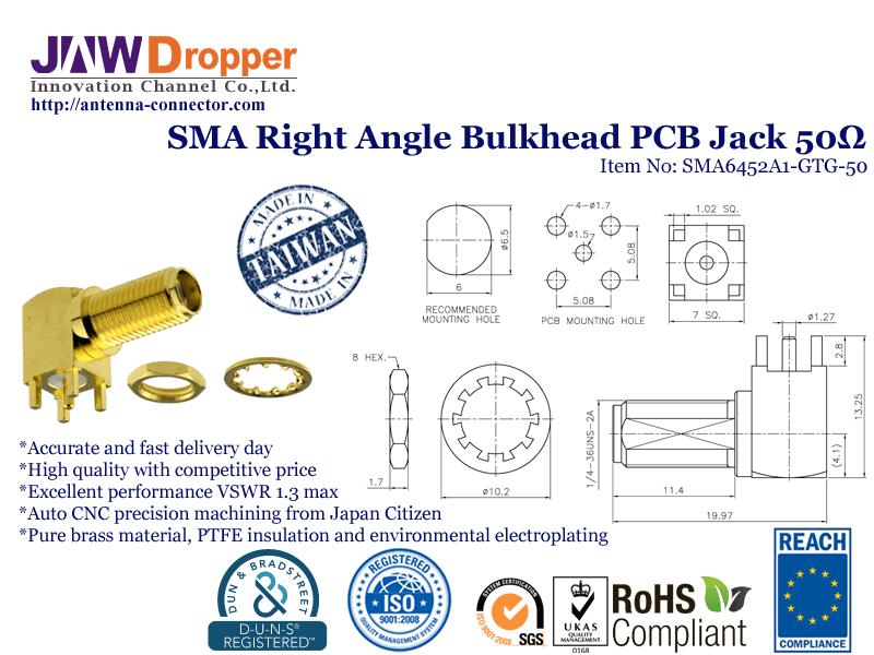 SMA Jack Female Right Angle Bulkhead PCB Coaxial Connector 50 ohms SMA6452A1 GTG 50
