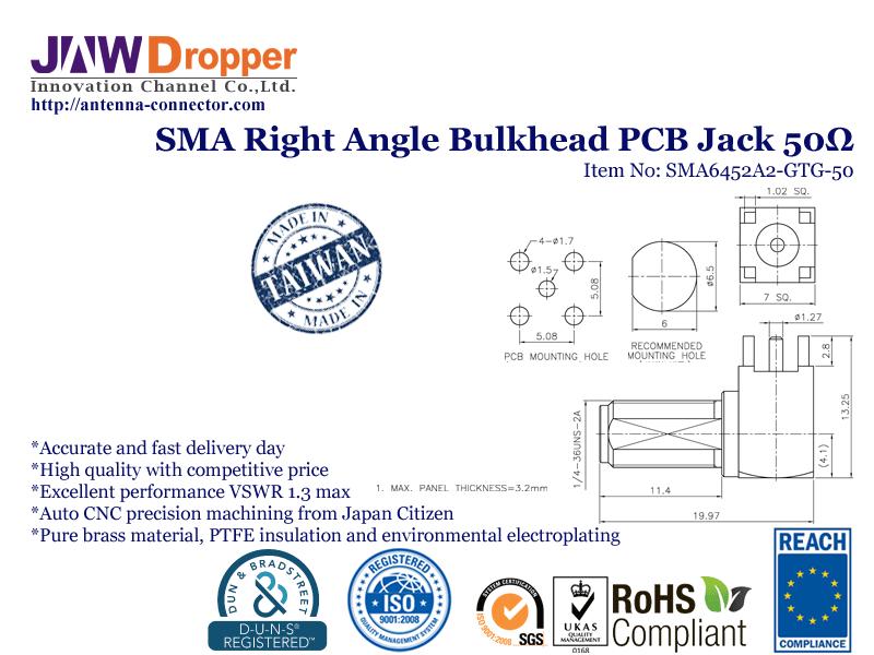 SMA Jack Female Right Angle Bulkhead PCB Coaxial Connector 50 ohms SMA6452A2 GTG 50