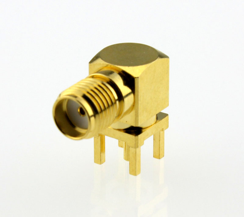 SMA Jack Female Right Angle PCB Coaxial Connector 50 ohms SMA6252A1 GTG 50 Front