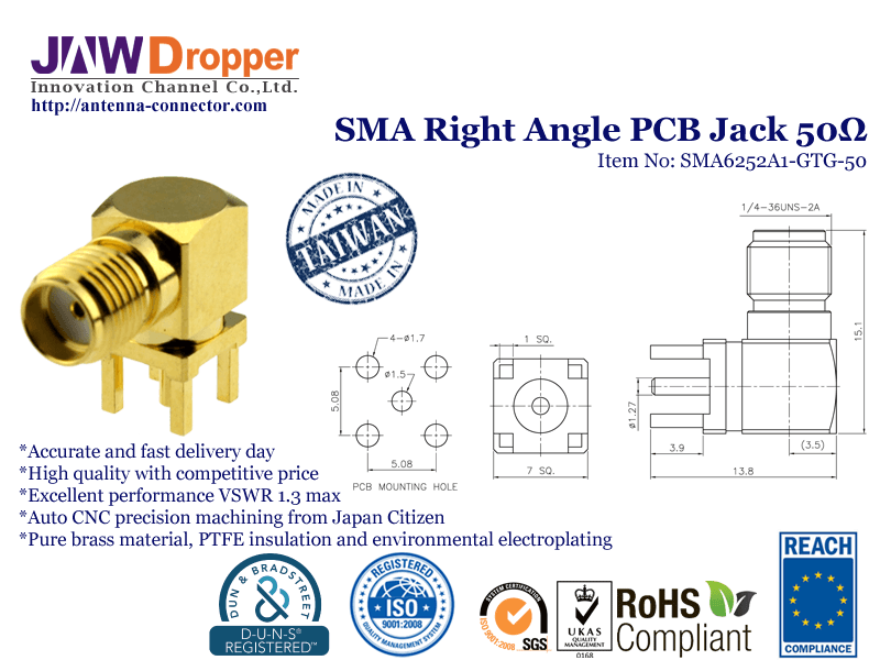 SMA Jack Female Right Angle PCB Coaxial Connector 50 ohms SMA6252A1 GTG 50