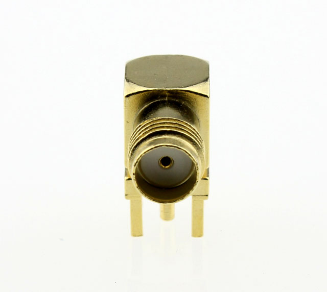 SMA Jack Female Right Angle PCB Coaxial Connector 50 ohms SMA6252G1 GTG 50 Front
