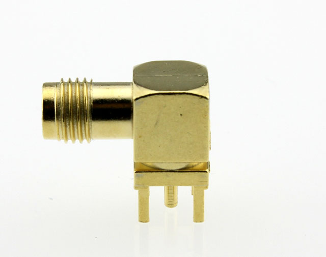 SMA Jack Female Right Angle PCB Coaxial Connector 50 ohms SMA6252G1 GTG 50 Side