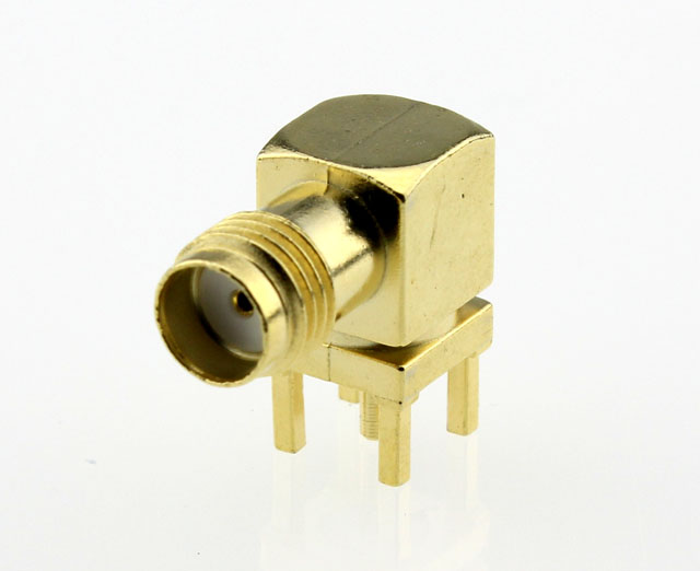 SMA Jack Female Right Angle PCB Coaxial Connector 50 ohms SMA6252G1 GTG 50