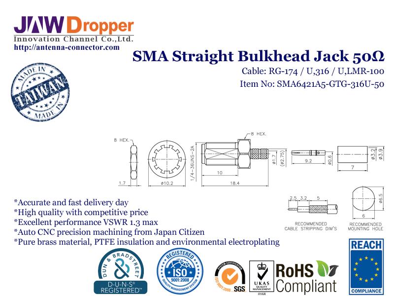 SMA Jack Female Straight Bulkhead Coaxial Connector 50 ohms SMA6421A5 GTG 316U 50