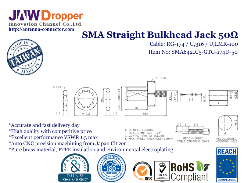 SMA Jack Female Straight Bulkhead Coaxial Connector 50 ohms SMA6421C5 GTG 174U 50