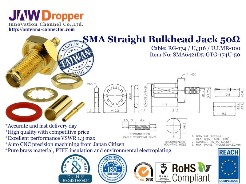 SMA Jack Female Straight Bulkhead Coaxial Connector 50 ohms SMA6421D5 GTG 174U 50