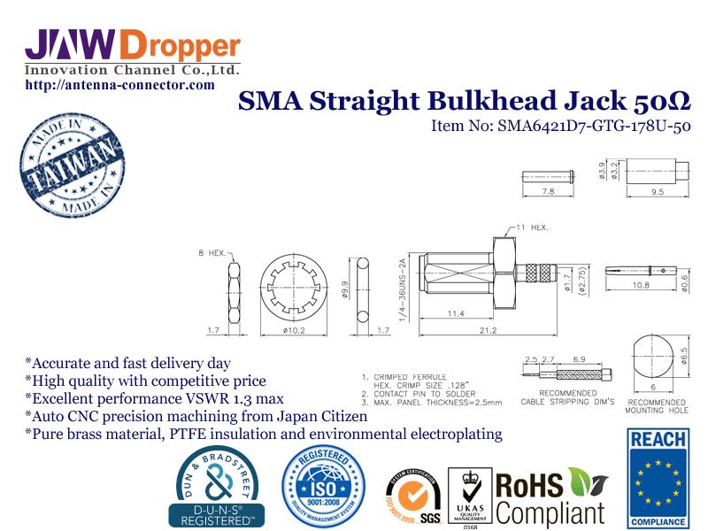 SMA Jack Female Straight Bulkhead Coaxial Connector 50 ohms SMA6421D7 GTG 178U 50