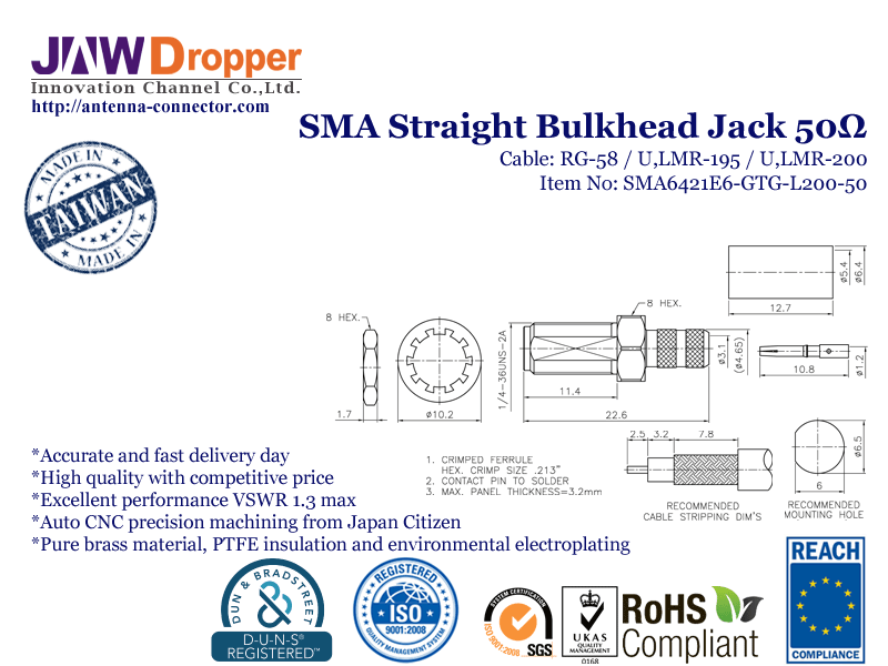 SMA Jack Female Straight Bulkhead Coaxial Connector 50 ohms SMA6421E6 GTG L200 50