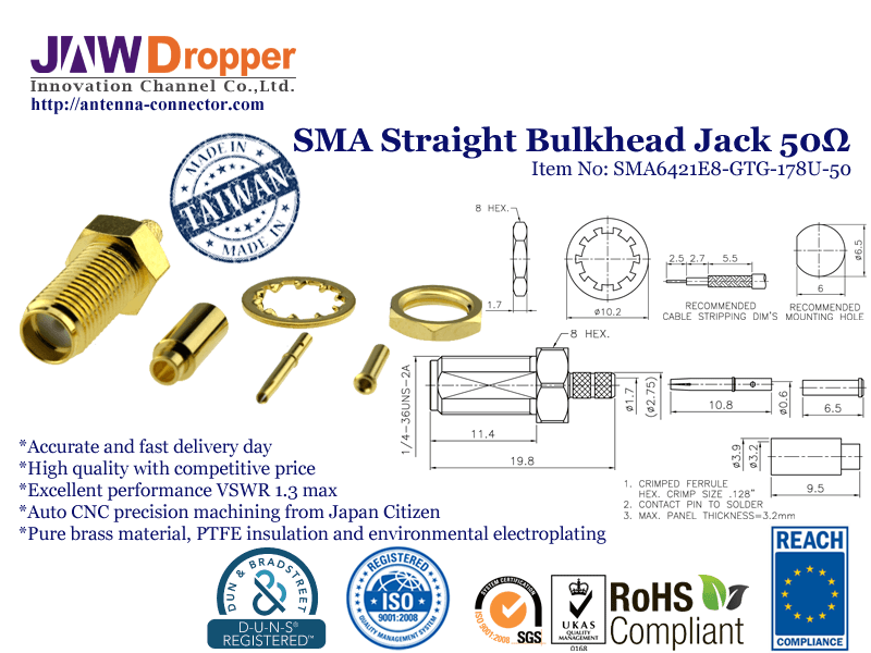 SMA Jack Female Straight Bulkhead Coaxial Connector 50 ohms SMA6421E8 GTG 178U 50