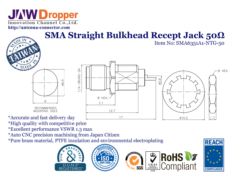 SMA Jack Female Straight Bulkhead Receptacle Coaxial Connector 50 ohms SMA6351A1 NTG 50