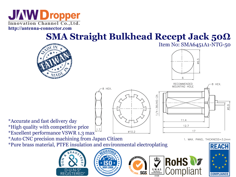 SMA Jack Female Straight Bulkhead Receptacle Coaxial Connector 50 ohms SMA6451A1 NTG 50