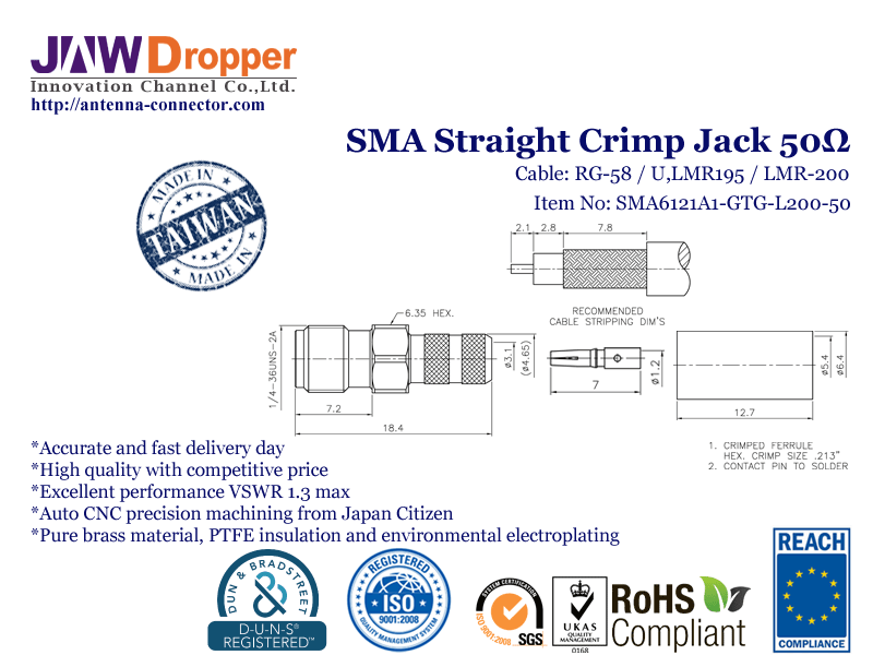 SMA Jack Female Straight Crimp Coaxial Connector 50 ohms for RG-58 / U,LMR-195 / U,LMR-200 Cable