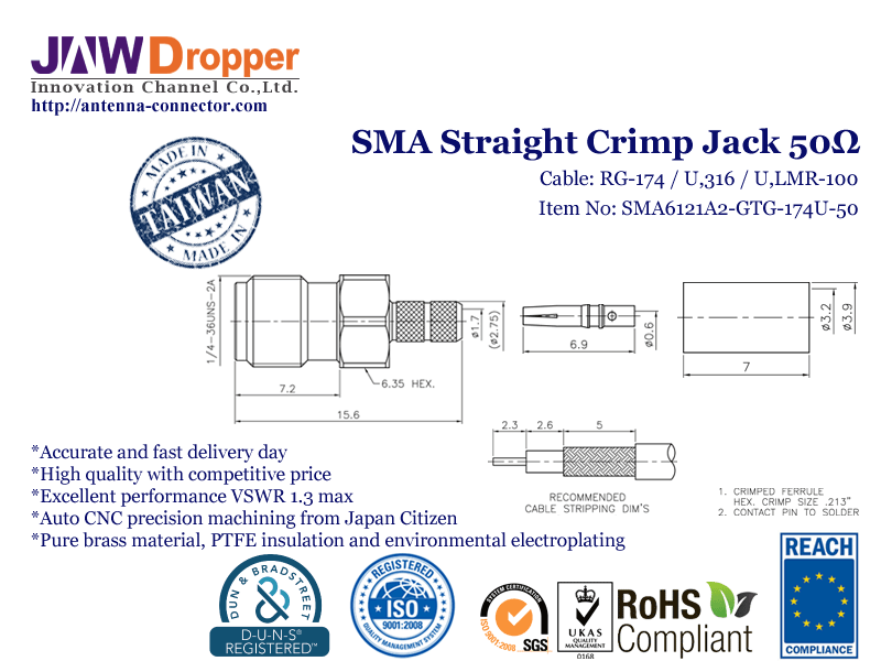 SMA Jack Female Straight Crimp Coaxial Connector 50 ohms SMA6121A2 GTG 174U 50
