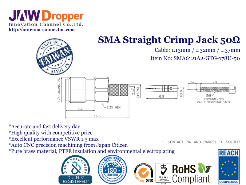 SMA Jack Female Straight Crimp Coaxial Connector 50 ohms for 1.13mm / 1.32mm / 1.37mm Cable