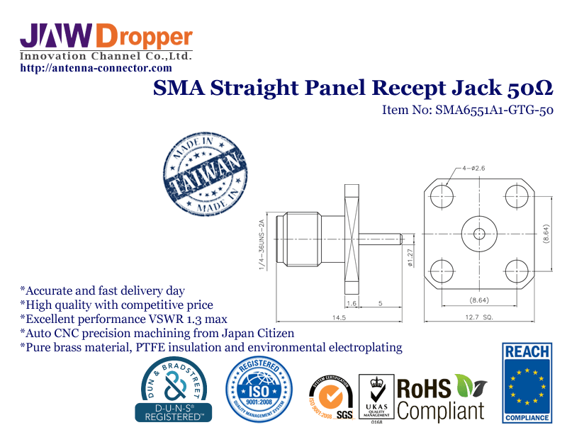 SMA Jack Female Straight Panel Receptacle Coaxial Connector 50 ohms SMA6551A1 GTG 50