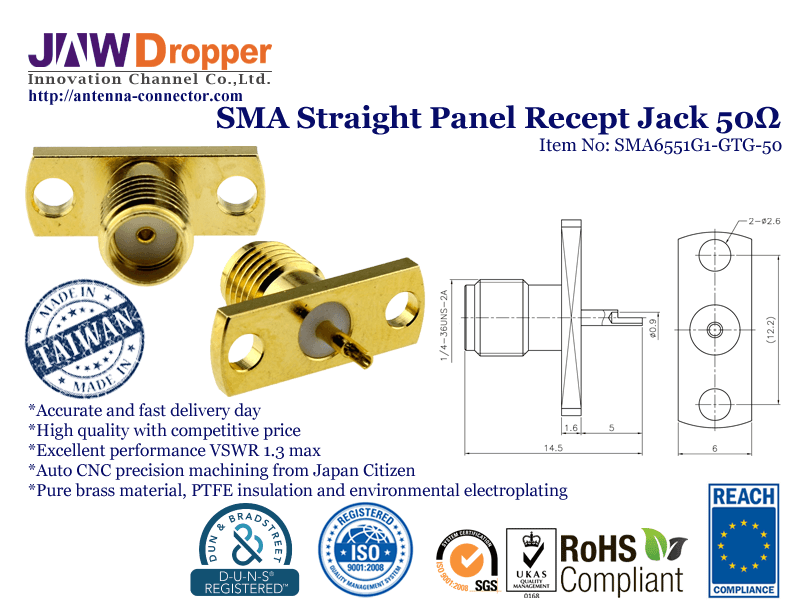 SMA Jack Female Straight Panel Receptacle Coaxial Connector 50 ohms SMA6551G1 GTG 50