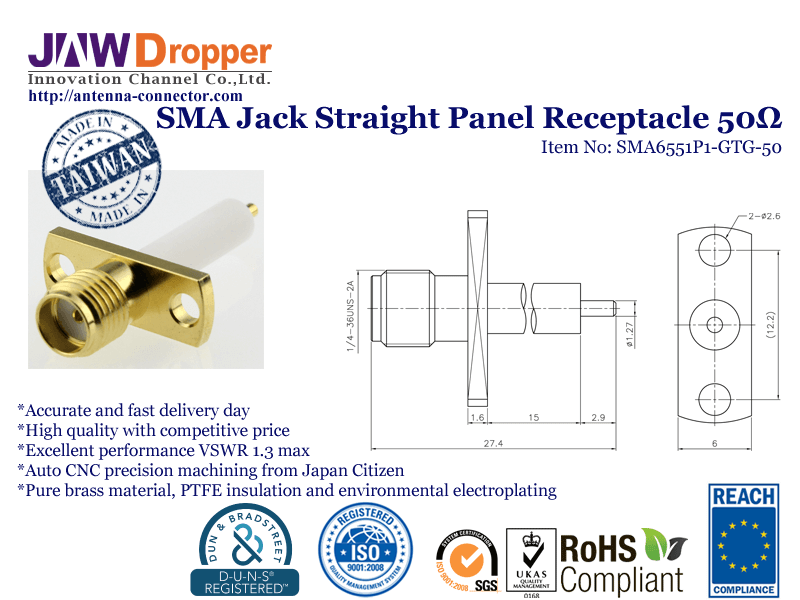 SMA Jack Female Straight Panel Receptacle Coaxial Connector 50 ohms SMA6551P1 GTG 50