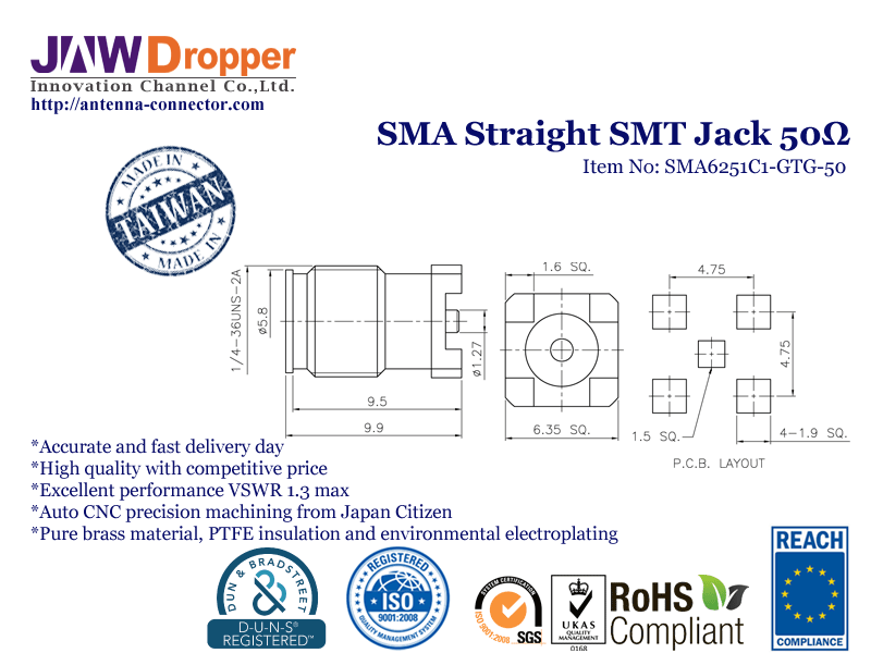 SMA Jack Female Straight SMT Coaxial Connector 50 ohms SMA6251C1 GTG 50