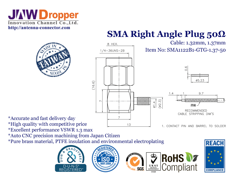 SMA Plug Male Right Angle Coaxial Connector 50 ohms
