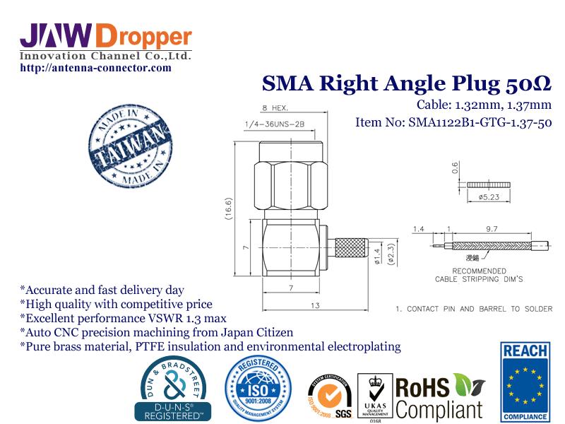 SMA Plug Male Right Angle Coaxial Connector 50 ohms SMA1122B1 GTG 1.37 50
