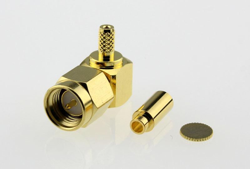 SMA Plug Male Right Angle Coaxial Connector 50 ohms SMA1122B1 GTG 178U 50 Front