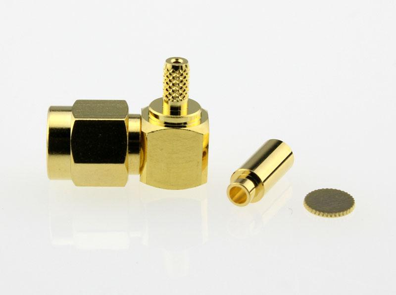 SMA Plug Male Right Angle Coaxial Connector 50 ohms SMA1122B1 GTG 178U 50 Side