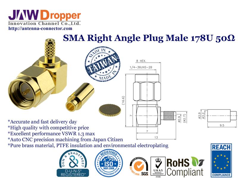 SMA Plug Male Right Angle Coaxial Connector 50 ohms SMA1122B1 GTG 178U 50